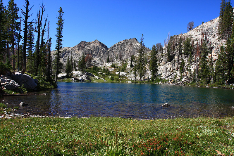 Hike to Sawtooth Lake in the Sawtooth Range, Idaho.  This is a small lake formed from the outflow of Sawtooth Lake.