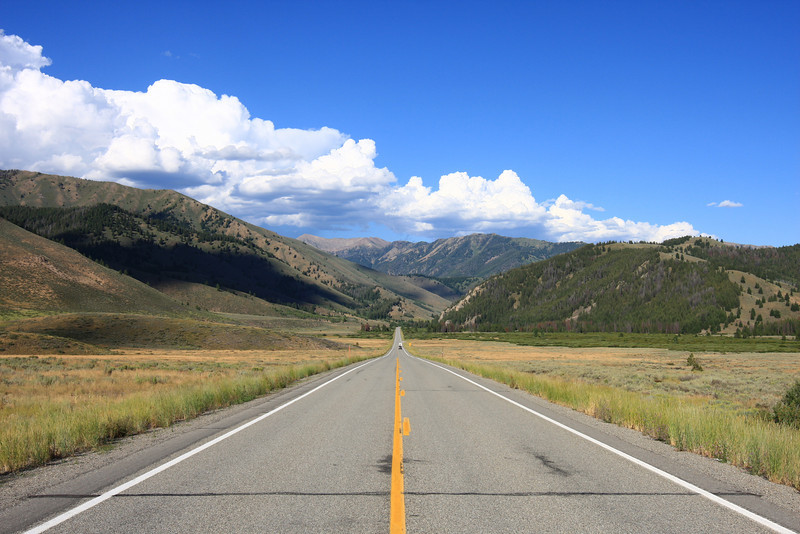 On the road in Idaho, between Ketchum and Stanley.
