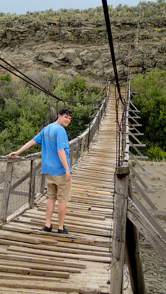"Alex testing out Sheep Bridge, which he described as ""kinda scketchy"""