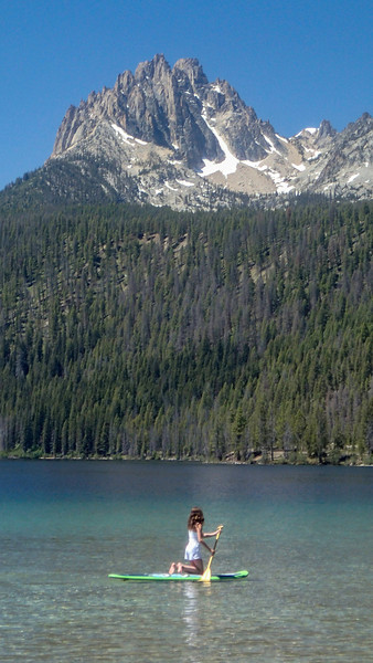 Girl on paddle board, Redfish Lake, Idaho