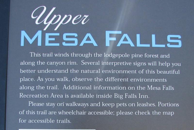 Upper Mesa Falls - Warm River, ID  - Upper Mesa Falls - Ashton, ID  9-4-05