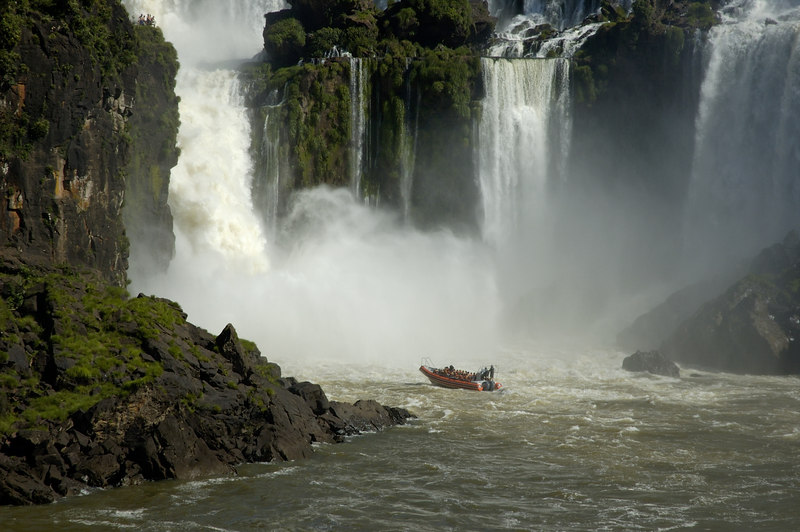 Iguazu Falls upper river from a rib, looking at a rib going into the Devil's Throat falls