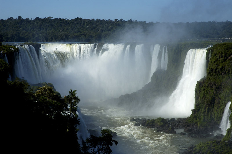 The Iguazu Falls from the Brazilian side looking up towards the Devil's Gorge