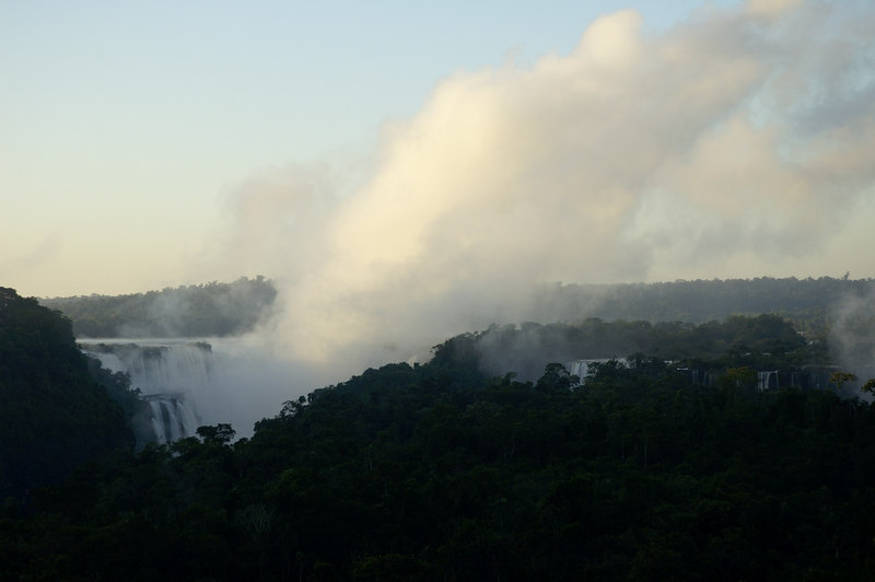 The Iguazu Falls from the Sheraton in the morning. The cloud of steam was impressive