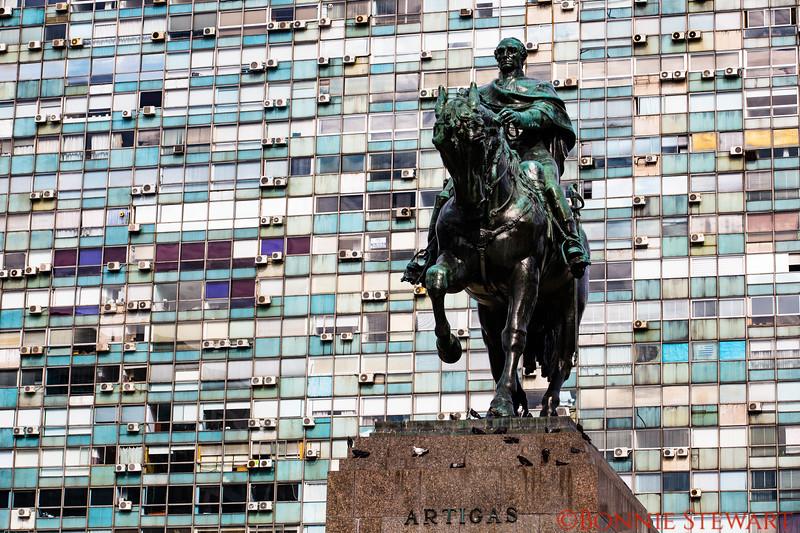 Bronze statue of Uruguay's National hero Jose Gervasio Artigas.   The statue is located above his mausoleum on Independence Square.