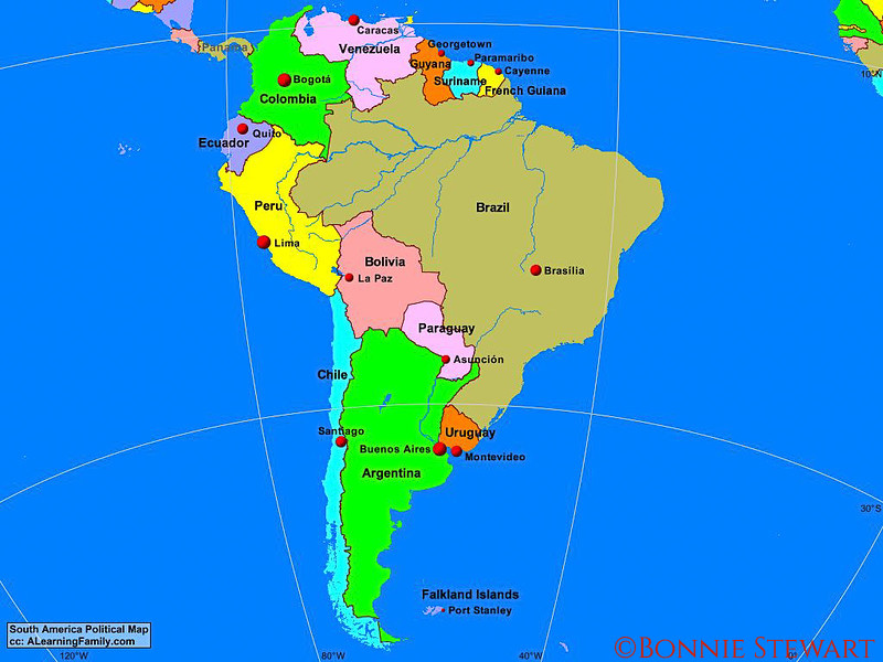 Map of South America showing Buenos Aires and Montevideo.  Map credit ALearningFamily.com