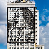 Eva Peron metal sculpture on a building in Buenos Aires