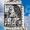 Eva Peron metal sculpture on a building in Buenos Aires