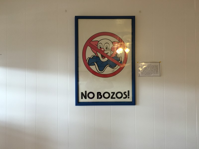 No Bozos sign in Mossyrock restaurant.