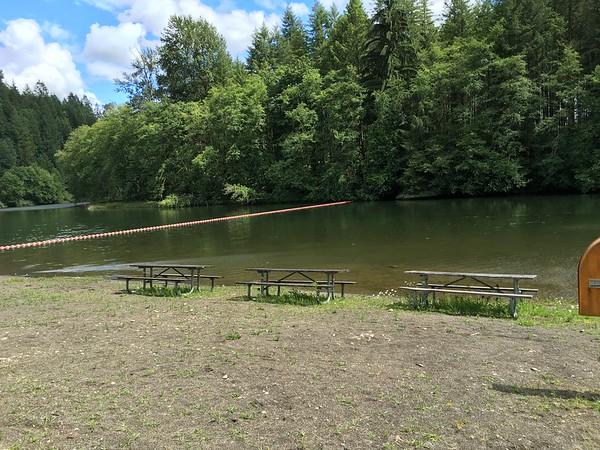 Lakefront swimming & picnicking at Ike Kinswa SP