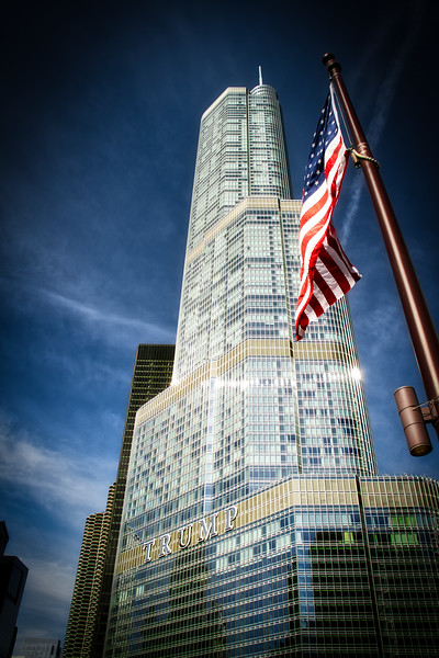 Trump Tower Chicago with American Flag