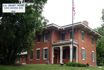 """On August 18, 1865, Galena celebrated the return of its Civil War hero General Ulysses S. Grant. Following a jubilant procession with much flag waving and speeches, a group of Galena citizens presented the General with a handsome furnished house on Bouthillier Street. The house is managed by the Illinois Historic Preservation Agency as the U.S. Grant Home State Historic Site.  The Grant Home  The brick house, which was designed by William Dennison, had been constructed in 1860 for former City Clerk Alexander J. Jackson. Thomas B. Hughlett, on behalf of only a small group of local Republicans, purchased the house for $2,500 in June 1865 and presented it to Grant two months later. The house is typical of the Italianate style, which is characterized by well defined rectilinear shapes, projecting eaves supported by brackets, low pitched roof, and balustraded balconies over covered porches.  Following his election as president in 1868 he visited only occasionally. In 1873 Grant commented that """"although it is probable I will never live much time among you, but in the future be only a visitor as I am at present, . . . I hope to retain my residence here . . . I expect to cast my vote here always."""" The house was maintained by caretakers in anticipation of the President's visits, the local newspaper reporting that it was """"in excellent order and ready for occupation at any time,"""" adding that """"visitors are always admitted.""""  Grant made his final visits to his Galena home in 1880. At that time he found that several changes had been made - """"a new sidewalk laid in front of the premises, the outbuildings repaired, the trees handsomely trimmed, a new and commodious wash house built and other improvements made."""""""