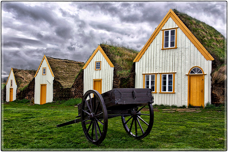 Sod Houses and Cart
