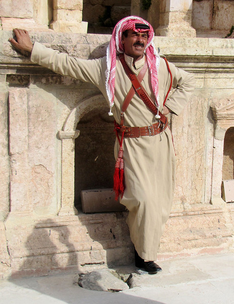 A Break from the Bagpipe Perfromance in Jerash
