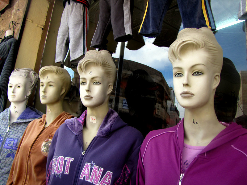 A mad mix of mannequins in a small village town.