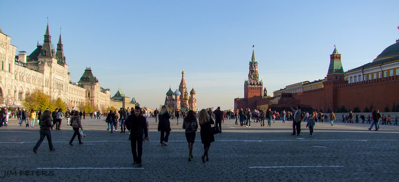 Red Square.  St. Basil's in Background.  Kremlin on right.  GUM Department Mall on left.