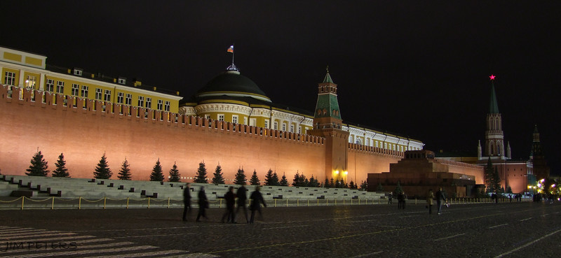 Red Square at Night.  Lenin's Tomb elevated on far right.