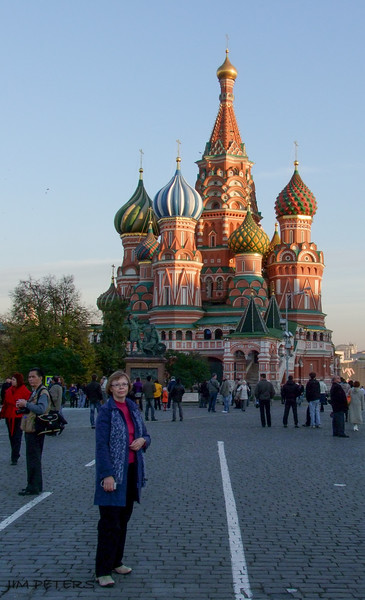 Jan near St. Basil's Cathedral - a Russian Icon.  8 Churches grouped around the central Church of the Intercession.