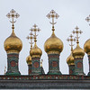 Gold Cupolas (Onion Tops) atop a Cathedral in Kremlin Area.  The Cathedral where Czars were crowned.