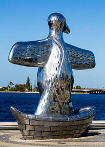 "Sculpture, ""First Contact"" at Elizabeth Quay."