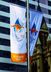 Banners celebrating the LNG-18 Conference line Perth's main street.