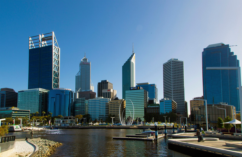 First day in Perth: At Barrack Square to catch a ferry to the Zoo.