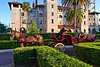 Horse-drawn carriages are a popular way to tour old town St. Augustine, Florida