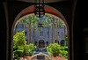 View of the Lightner Museum entrance from the arched entryway, St. Augustine, Florida