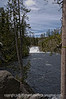 Lewis Falls in Yellowstone; the falls have a drop of 30 feet and are near the south entrance of the park.
