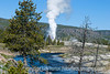 I think this may be Riverside Geyser, erupting in the Upper Geyser Basin of Yellowstone; best viewed in the larger sizes