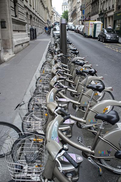 The ubiquitous Paris rent-a-bicycle