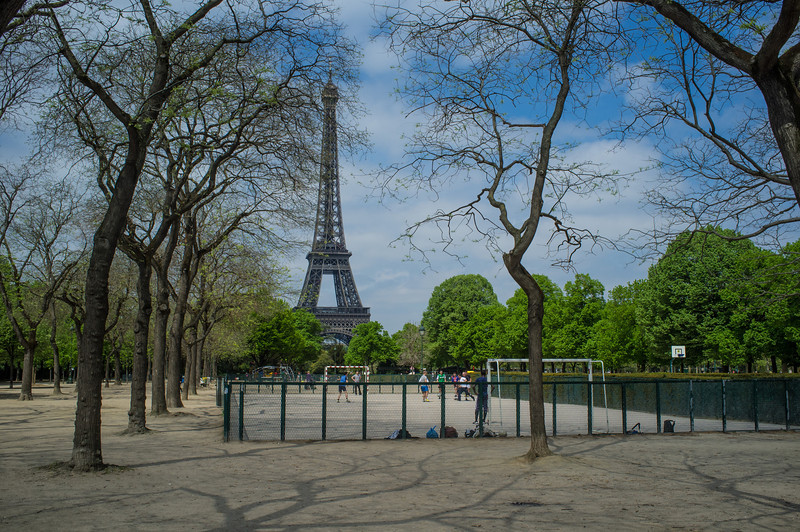 Mini Soccer in the Champ de Mars with the Tour Eiffel in the background