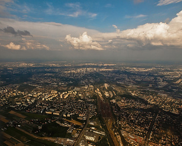 Photos taken of and from commercial planes. Warsaw. Photo: Martin Bager