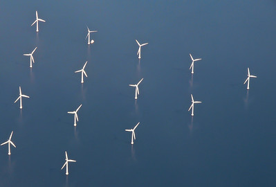 Photos taken of and from commercial planes. Windmills of the coast of Denmark.  Photo: Martin Bager