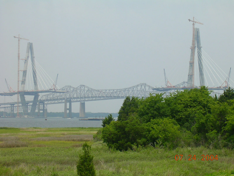 <h2>The Best Part</h2>Of Charleston, that is.  Was this bridge that I eventually crossed after breaking out of Atalaya Castle.  I don't see what people see in those silly decommisoned military ships.