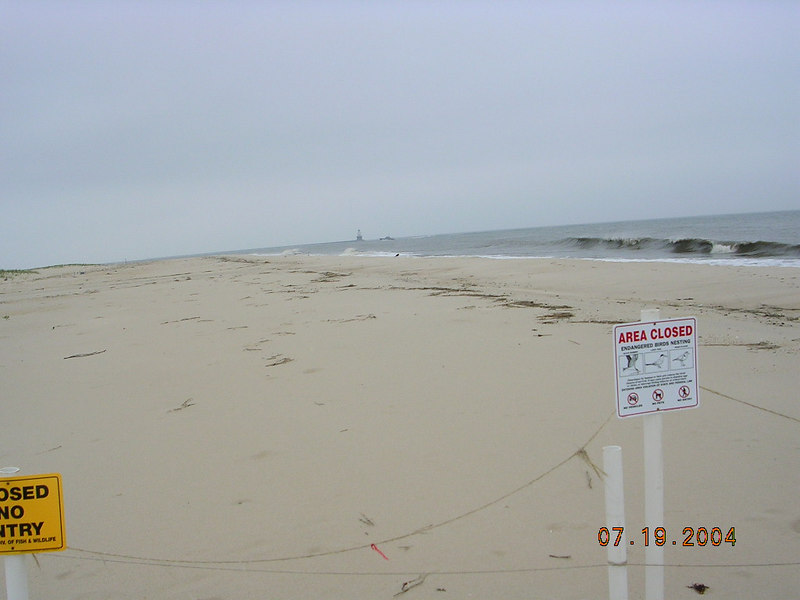 <h2>Access Denied</h2>But when I tried to get to the cape I was met with a rope barrier and this sign. Turns out that it is a nesting ground for the Delaware Piping Plover.