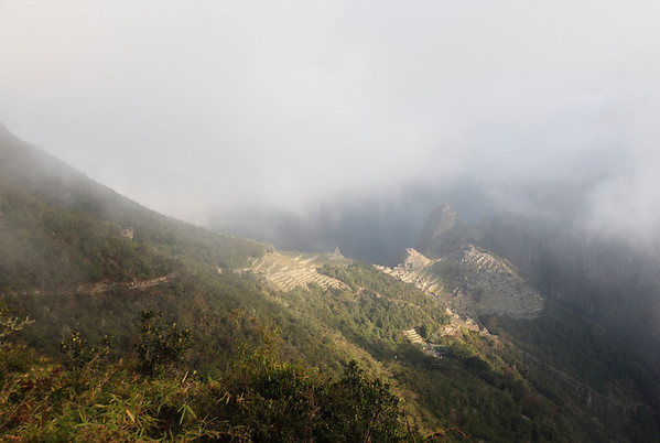The first view of Machu Picchu.  The fog was rising.