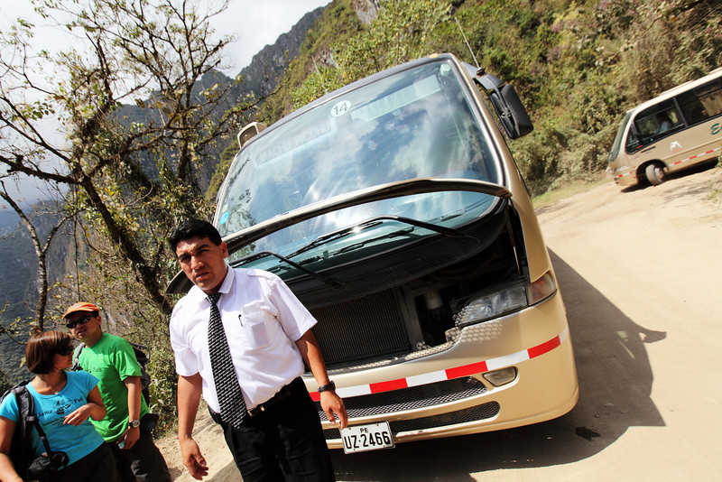 Our bus down to Aguas Calientes breaks down.  Tire almost comes off.  LOL  We had to change buses and avoid getting hit by other buses.  All this on a dirt road.  Probably about 30 switch backs.  We were the only backpackers on our bus.  We probably smelled really bad.  4 days..no shower.