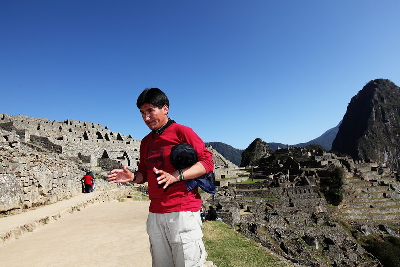 Casiano talks to us about everything Machu Picchu...the discovery...the people...the location.  We sat back listened and admire the view.  He gave us an awesome tour showing us all the cool temples, rooms and sun dial.  We then had about an hour and a half to ourselves.  We would bus down to Aguas Calientes to meet him for lunch.