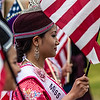 Asian girl in fourth of July parade