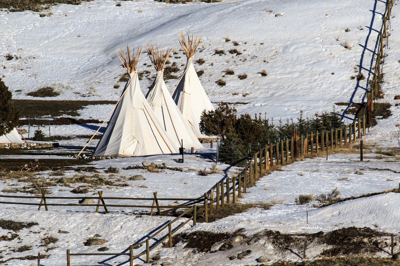 Across the Yellowstone River we could see this intriguing sight of teepees.