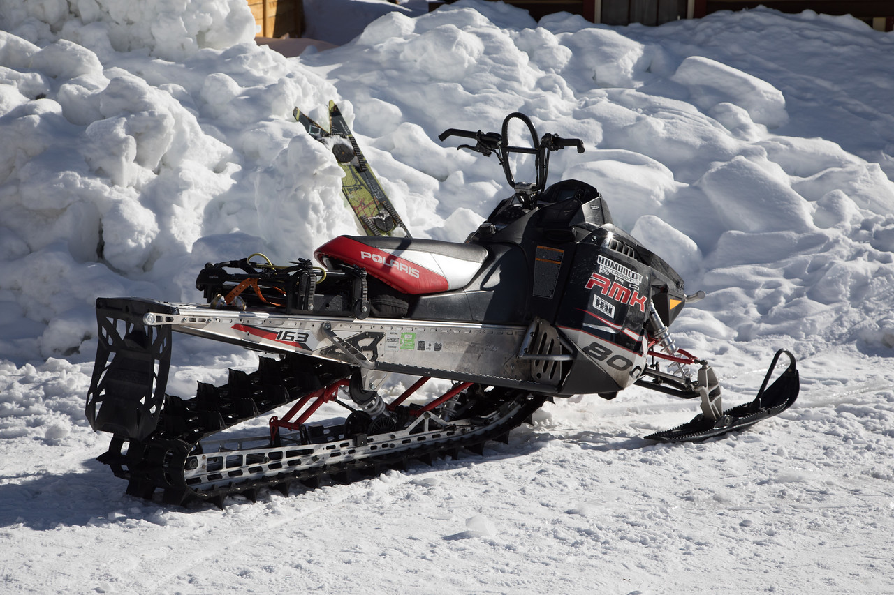 The snowmobile, vehicle of choice and necessity in this area.
