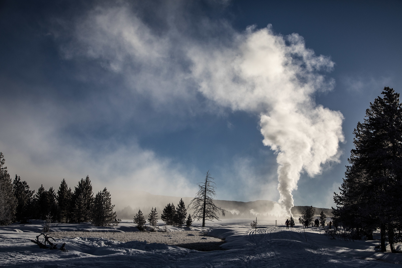 A strikingly eerie morning scene near Old Faithful.