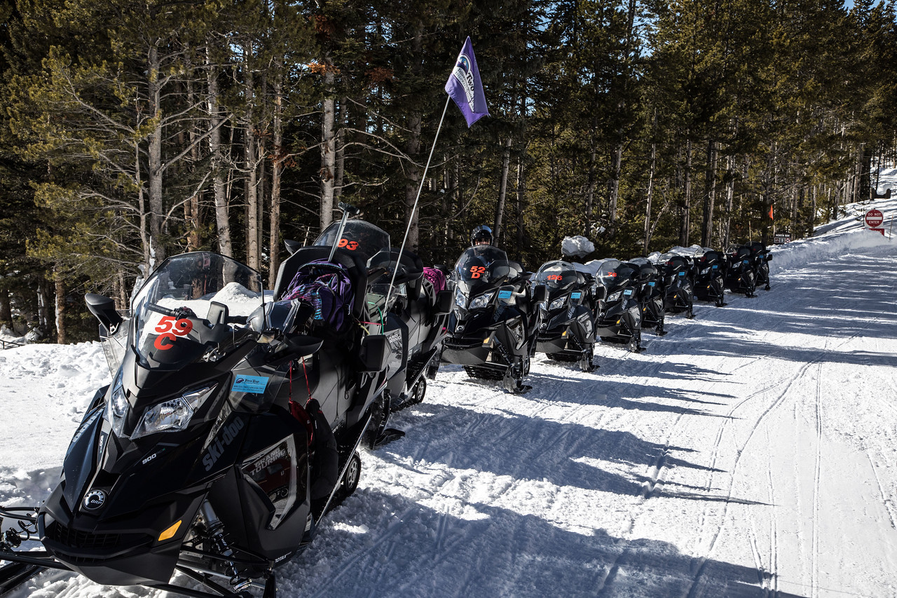 Guided snow mobile tours are the other way to travel along these snow-covered roads.