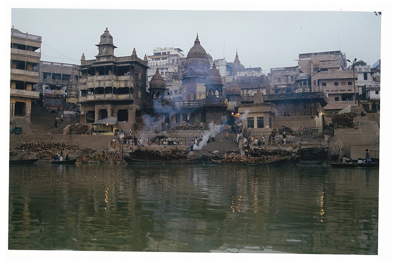 Varanasi- burning bodies on the banks of the Ganges.