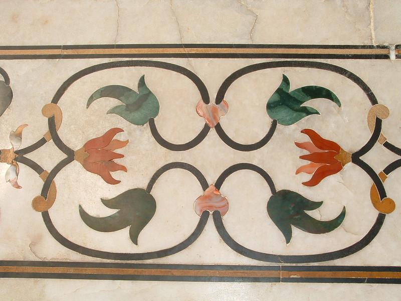 Close-up of marble inlay, Taj Mahal, Agra