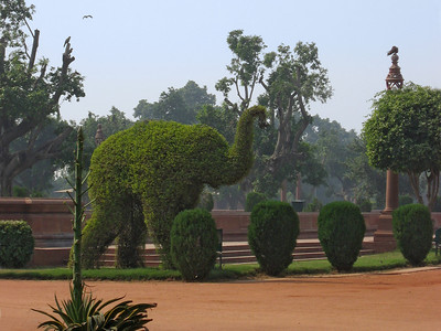 Elephant topiary in front of the Presidential Palace