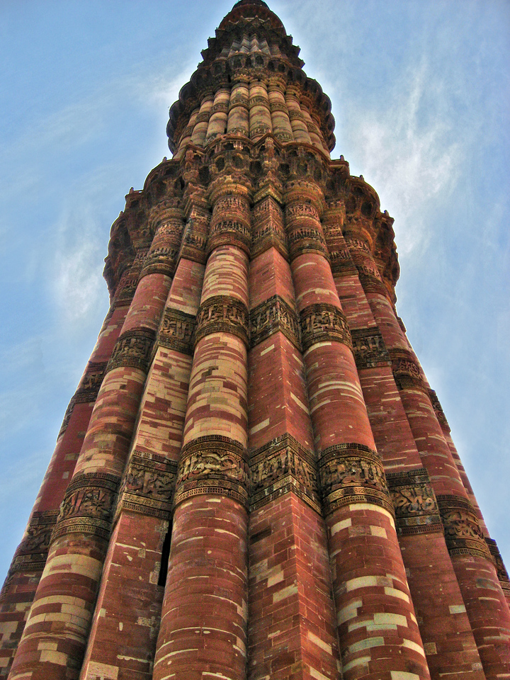 Qutub Minar in Delhi - the minaret is 234 feet high and the highest individual tower in the world; taller than the Great Pagoda in Beijing, China and the Leaning Tower of Pisa in Italy.  The Qutub Minar complex is listed as a UNESCO World Heritage site and is one of the most popular tourist destinations in Delhi, and was also India's most visited monument in 2006, even more than the Taj Mahal.  (The structure was completed in ~ 1200)