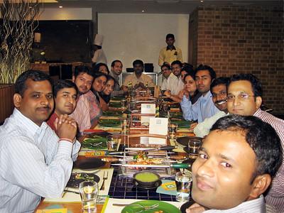 Team dinner, starting on the left side - Pinaki Patra, Jittender Aggarwal, Dennis Dhillon, Ankita Porwal, Gaya, Mili Mitra, Rafi Ahmad, Lakshmi Kanth (center), Chetan Tope, Kunal Kapoor, Jyoti Dalal, (partially shown), Sangeetha, Gaurav Madan, Natarajan Sundaramoorthy,  Dhananjay Singh, Amar Poka