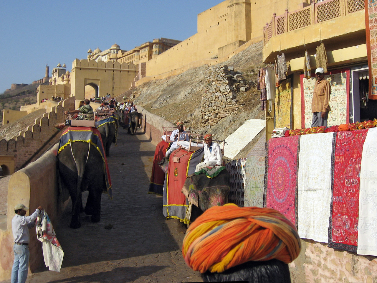 Jodhpur - Mehrangarh Fort (AKA Citadel of the Sun) perched 400 feet above the city is among India's largest.  Built in 1459 with many subsequent additions by its succeeding rulers.